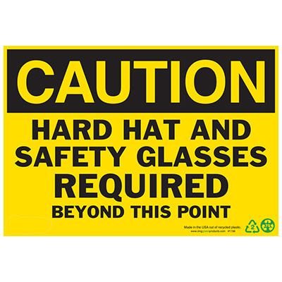 Caution Hard Hat and Safety Glasses Sign - Aluminum